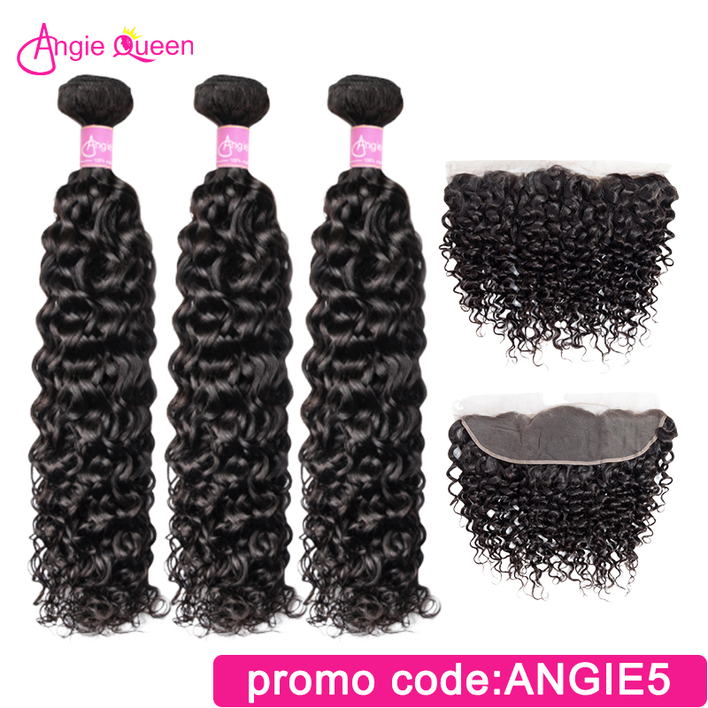 Angie Queen Water Wave Brazilian Remy Hair Natural Color Bundles With Lace Frontal 100% Human Hair 3 Bundles With Frontal M