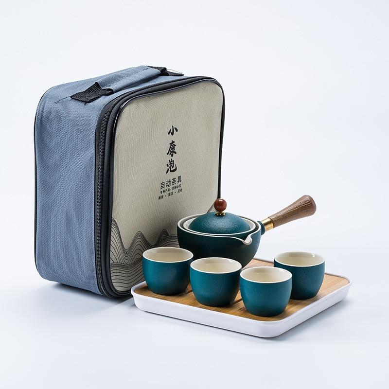 Kung fu Tea Ceremony Set Chinese Automatic Rotating Tea Make Home Ceramic Tea Pot Travel Portable Gift Customization Teaware New 4