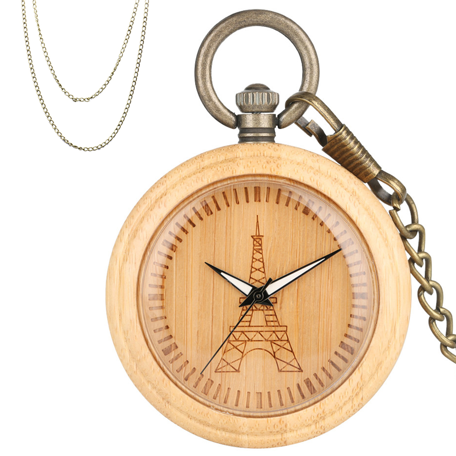 Luxury Pure Bamboo Wood Watch Case Quartz Timepiece Engraving Eiffel Tower Bronze Hanging Pocket Chain Necklace Pendant Clock