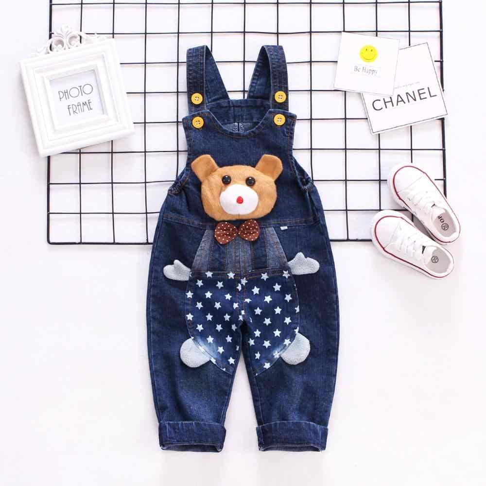 1-3T bebek denim tulum Toddler kot sevimli hayvanlar uzun pantolon karikatür kawaii Bib tulum tulum çocuk giyim Bebe giysi