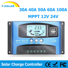 MPPT Solar Charge Controller PWM 100A 60A 50A 40A 30A Solar Power Regulator 12V 24V Auto Dual USB LCD Display Load Discharger