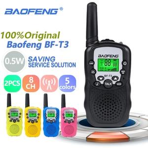 Image 1 - 2pcs Wholesale Children Mini Kids UHF Walkie Talkie BF T3 Baofeng FRS Two Way Radio Comunicador T3 Handy Talkie Hf Transceiver