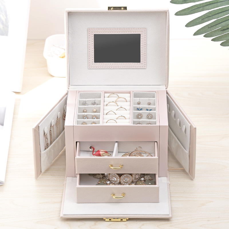 Jewelry Box Mirrored Large Capacity Jewelry Casket Makeup Organizer Earring Holder Makeup Storage Gift Boxes For
