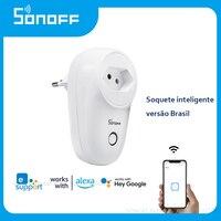 Sonoff S26 WiFi Inteligente de Control remoto Plug Brasil Blanco estándar enchufes Soquete Inteligente trabaja con Alexa de Google