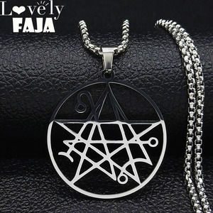 Necronomicon Stainless Steel Necklace Men Satanic Pendant LOVECRAFT CTHULHU patchsatanic PIN jewelry bijoux homme N3038S03(China)