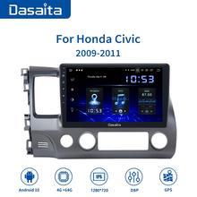 "Dasaita AndroidรถนำทางGPSสำหรับHonda Civic 2009 2010 2011 Android 10.0 รถวิทยุGPS Player 1 Din 10.2 ""หน้าจอHD"