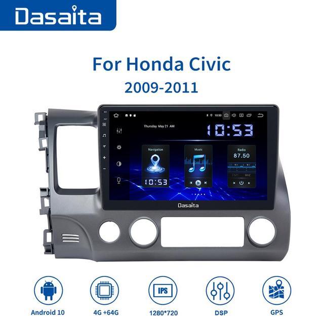 """Dasaita אנדרואיד רכב ניווט GPS עבור הונדה סיוויק 2009 2010 2011 עם אנדרואיד 10.0 רכב GPS רדיו נגן 1 דין 10.2 """"HD מסך"""