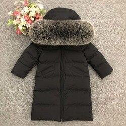 2019 invierno niños pato abajo chaqueta abrigo niña niño bebé grueso estilo largo invierno abrigos niños Real Mink/fox pelo caliente abajo chaquetas