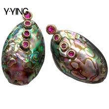Y·YING Natural Abalone Shell freeform Red Cubic Zirconia pave Stud Earrings vintage style for women