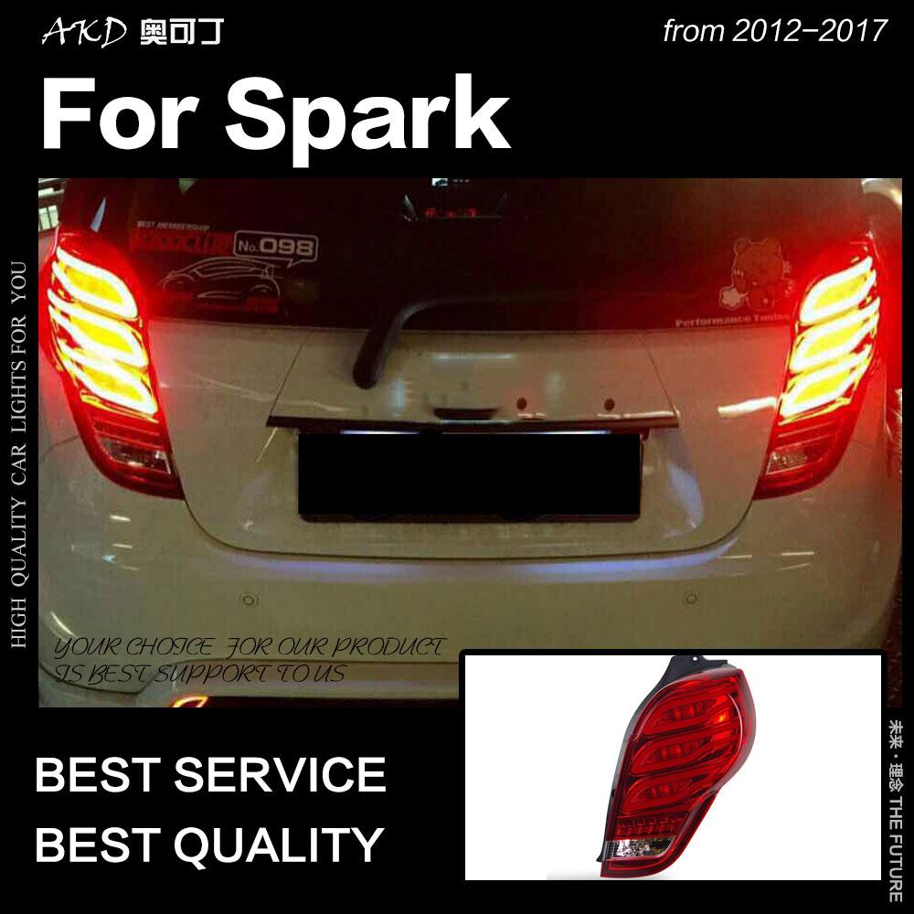 AKD voiture style pour Chevrolet étincelle feux arrière 2012-2017 nouveau feu arrière LED étincelle DRL Signal frein arrière auto accessoires