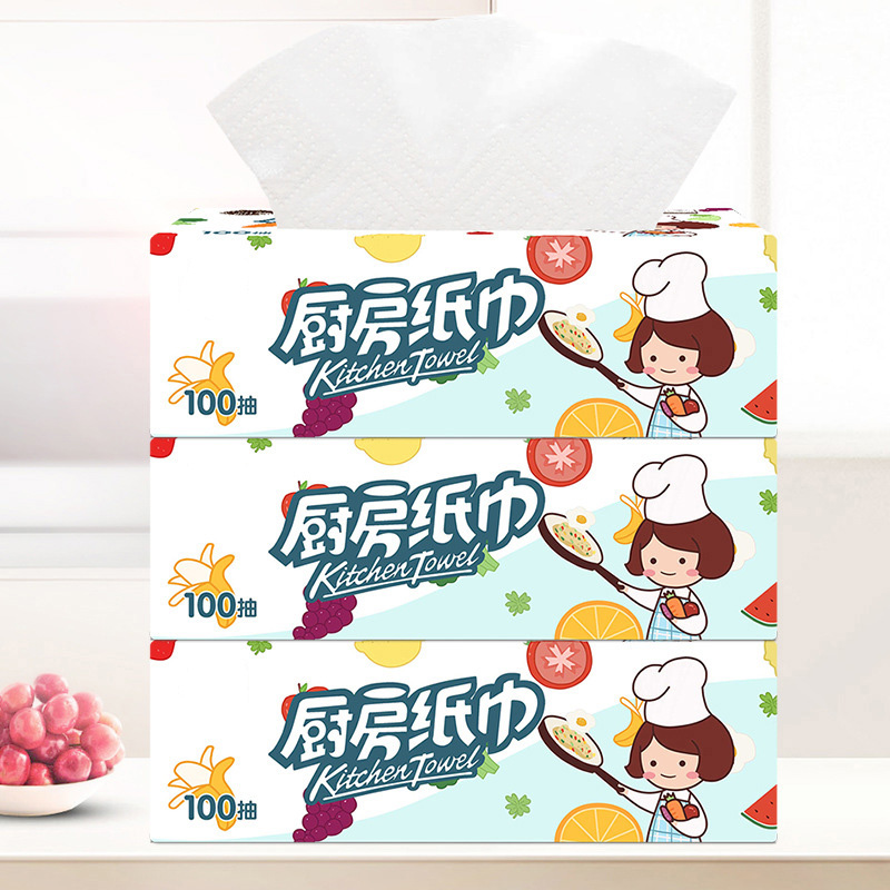 3 Packs Strong Oil-absorbing Kitchen Tissue Wood Pulp Water Absorption Paper Towel New BMF88