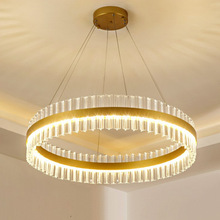 Light luxury crystal chandelier simple round bedroom dining room living room lighting high-end villa engineering lamp cheap LAWIKNGY CN(Origin) Plated Parlor Study Master Bedroom other bedrooms Hotel Room Chain Pendant Pendant Lights 3 years 15-30square meters