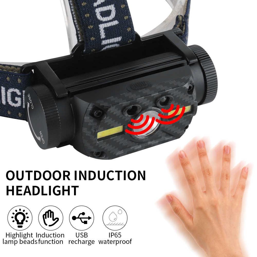 BORUiT B34 IR Motion Sensor Scheinwerfer XM-L2 + 2 * COB LED Max.4000LM Scheinwerfer 21700/18650 Wiederaufladbare Kopf Taschenlampe Camping Jagd