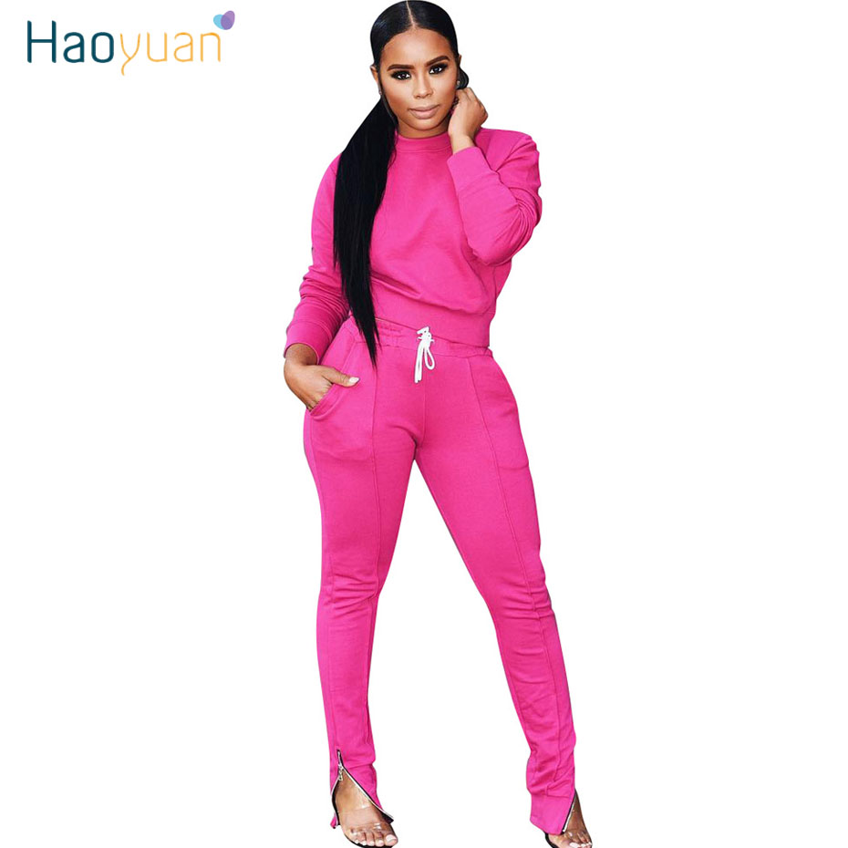 HAOYUAN Two Piece Set Tracksuit Fall Winter Clothes Long Sleeve Top And Pant Sweat Suits 2 Piece Outfits Fro Women Matching Sets