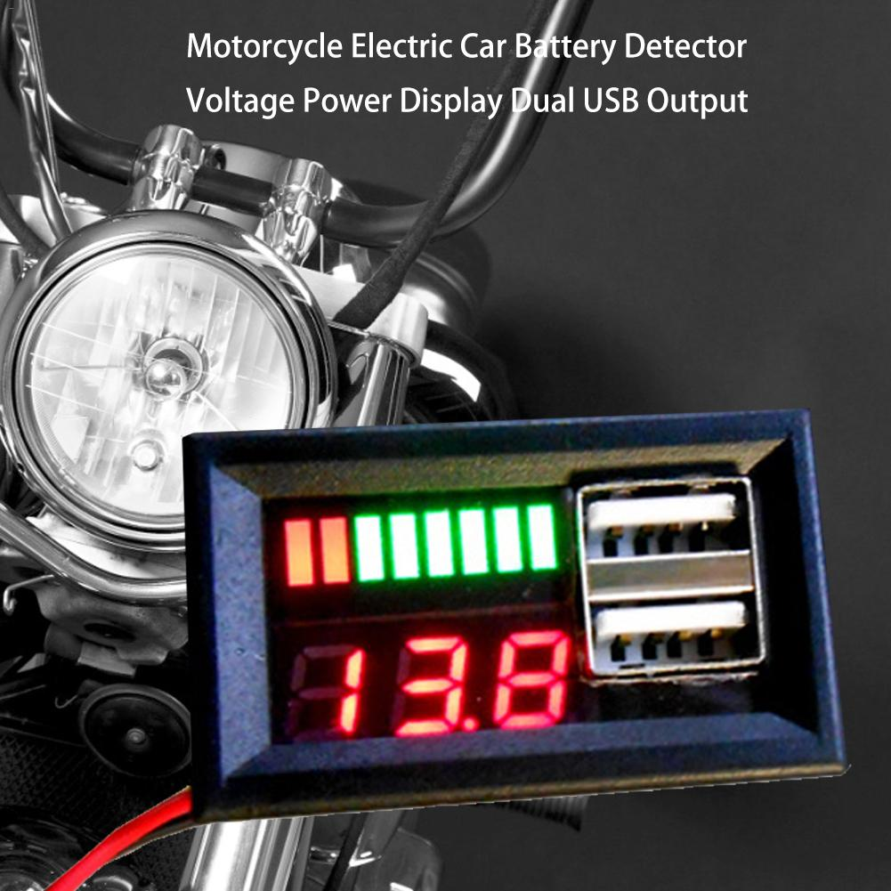 12V Digital <font><b>Battery</b></font> Capacity Indicator Voltmeter <font><b>Battery</b></font> <font><b>Volt</b></font> Tester Detector Power Display Dual USB Output For Motorcycle image