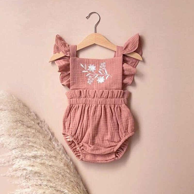 0-24M noworodka miękka bawełniana pościel Romper dziewczynka ubrania kwiatowy kombinezon bez rękawów Romper Playsuit maluch ubrania dla dziewczynki