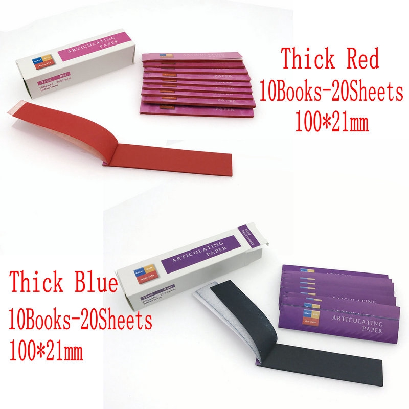 Blue/Red Dental Clinc Articulating Paper Strips Thick Strips 20 sheets/book 10 books/Box-0