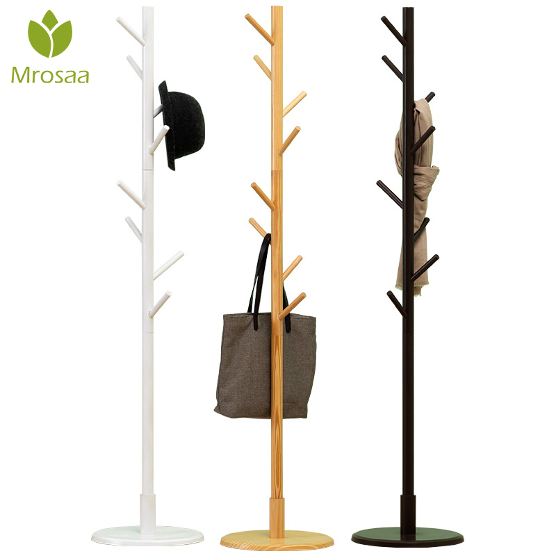Mrosaa Premium Wooden Coat Rack Multifunction Hanger Floor Standing Coat Rack With 8 Hooks Wood Coat Rack Stand For Coats Hats