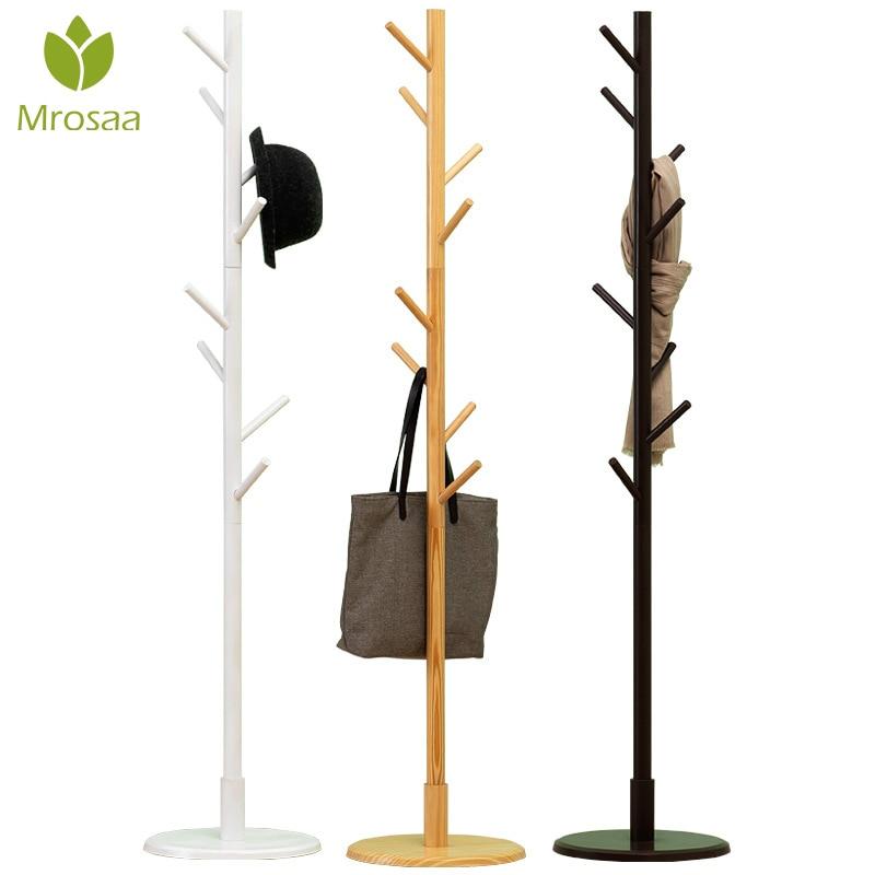 Mrosaa Premium Wooden Coat Rack Multifunction Hanger Floor Standing Coat Rack With 8 Hooks Wood Coat Rack Stand For Coats Hats