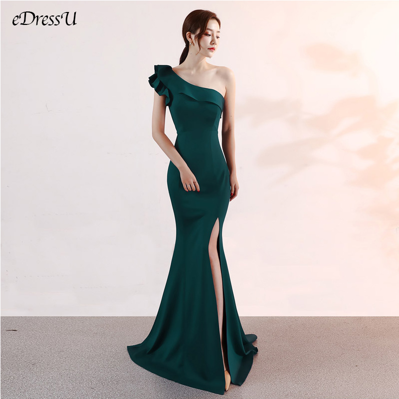 One Shoulder Evening Party Dress Sexy Split Long Dress Elegant Vestido De Fiesta Robe Ruffules Neck Formal Dress YNY-16023
