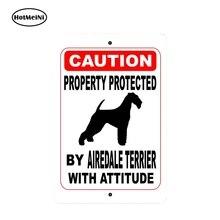 Hotmeini 13Cm X 8.7Cm Eigendom Beschermd Door Airedale Terrier Hond Met Houding Auto Sticker Vinyl Decal Aluminium Teken