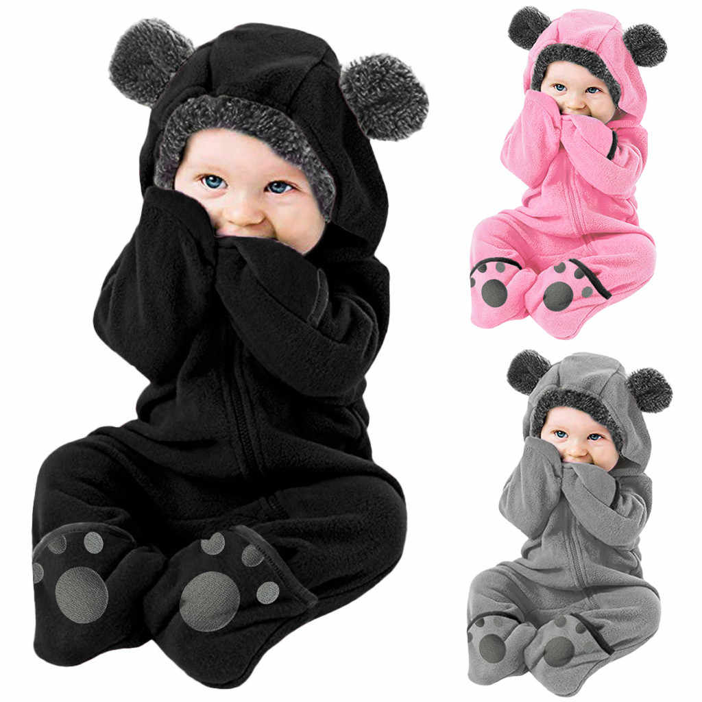 Overalls For Newborns Girls Boys Solid Cartoon Ears Hoodie Romper Clothes Fleece Jumpsuit Baby Costume комбинезон детский @40