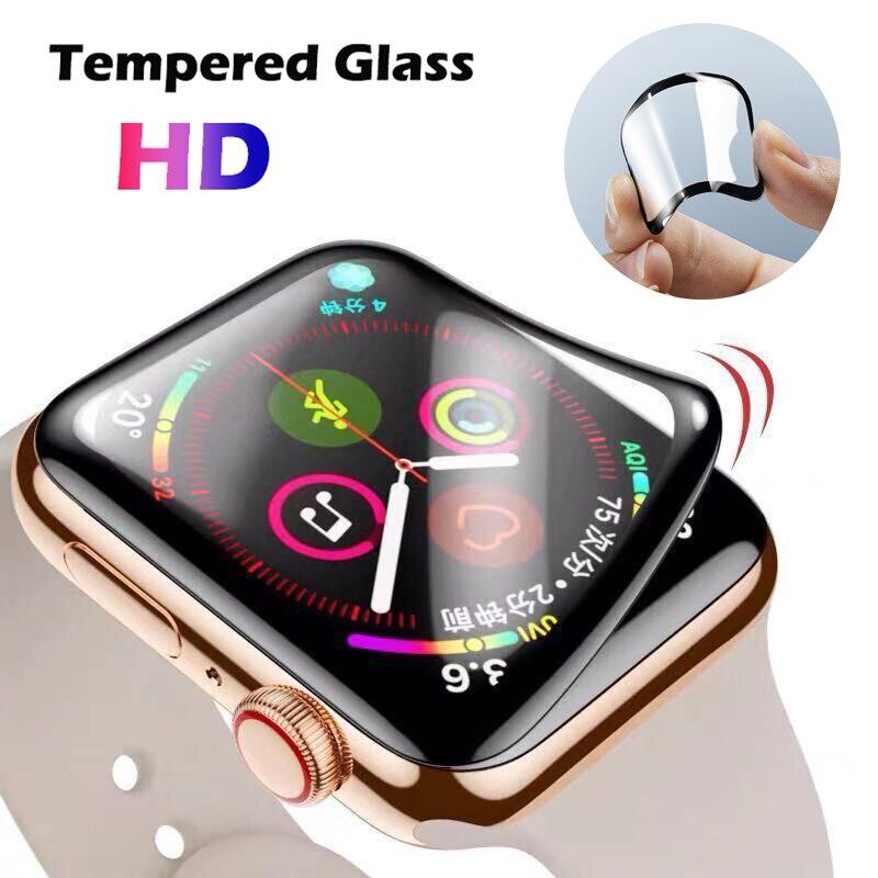 3d borda curvada hd vidro temperado para apple assista band caso 38mm 42mm filme protetor de tela para iwatch 4/5 40mm 44mm completo