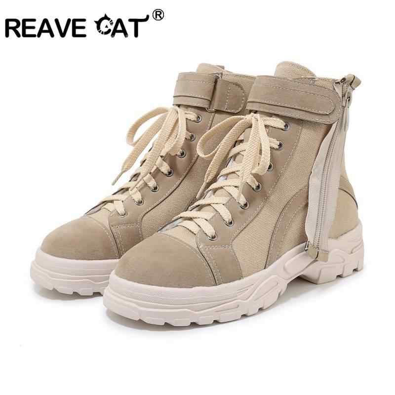 REAVE kedi kadın yarım çizmeler yuvarlak ayak kanca ve döngü Anti kayma kare kalın topuk akın fermuar Patchwork çapraz bağlı yürüyüş boyutu 29-46