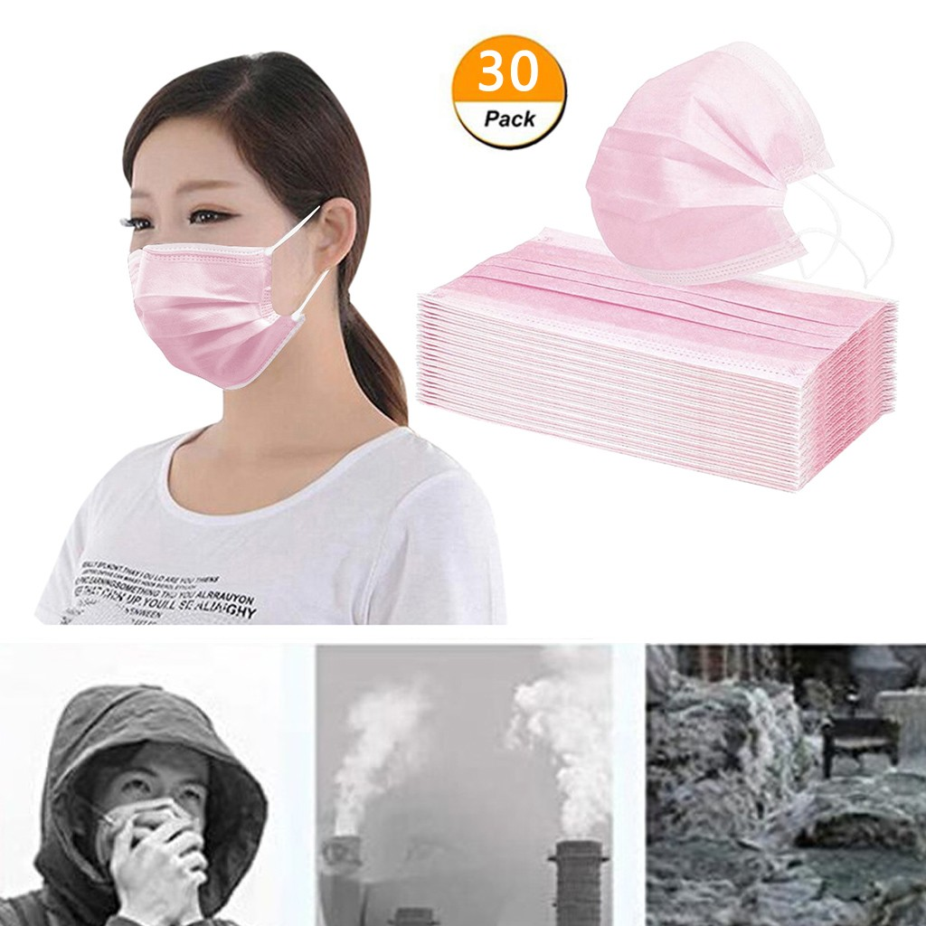 30pcs Disposable Face Mask 3 Ply Filter Masks Anti Dust PM2.5 Hygiene Mouth Masks High Grade Protective Mouth Face Masks