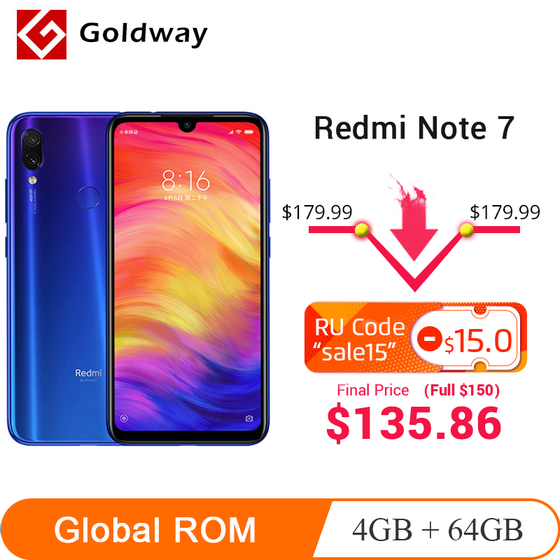 Xiaomi Redmi Note 7 4GB LTE/GSM/WCDMA Quick Charge 3.0 Bluetooth 5.0 Octa Core Fingerprint Recognition