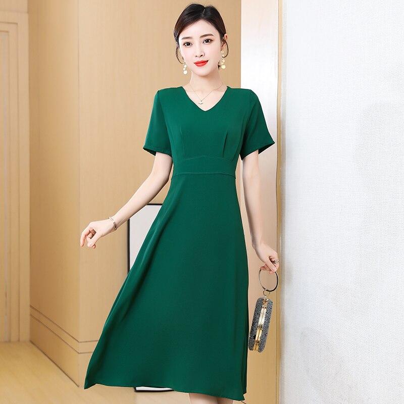 Women Elegant Red Dress New Ladies Short Sleeve V-Neck Slim Summer Dress Female Vestidos New Women'S Clothing 4
