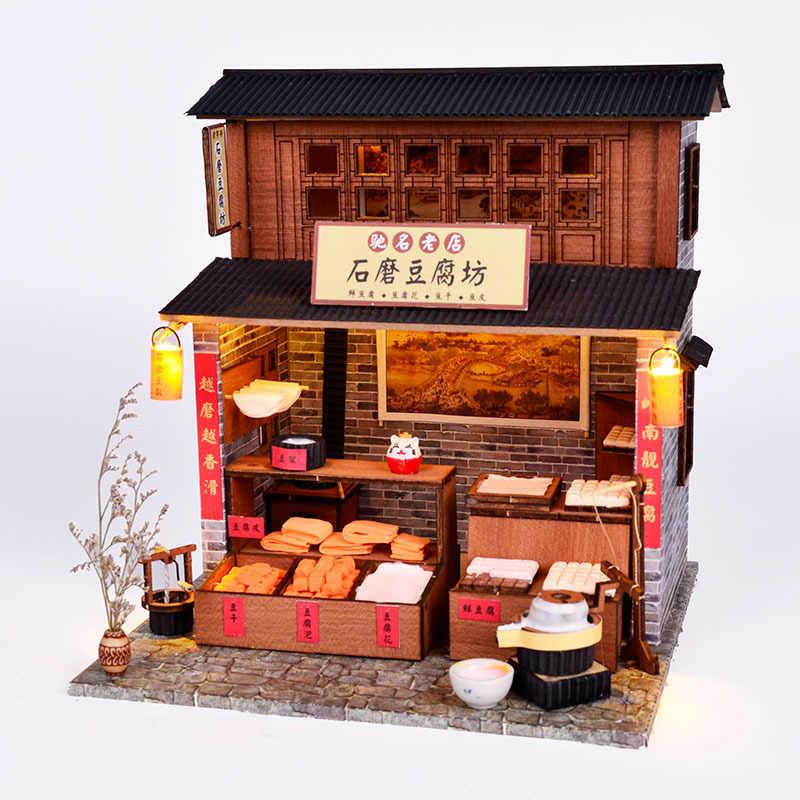 สไตล์จีน DIY Hut VINTAGE สถาปัตยกรรม Villa Store ไม้ Handmade ประกอบ LOFT วัสดุของขวัญสร้างสรรค์