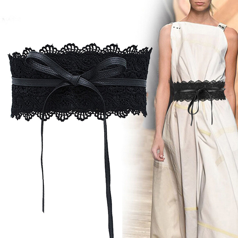 Fashion Waist Belts Women Lace Wide Belt Bowknot Weaving Belt Boho Waist Band