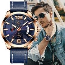 CRRJU reloj de pulsera de lujo multifunción para hombre, reloj de pulsera deportivo militar a la moda de cuero resistente al agua para hombre, reloj Masculino