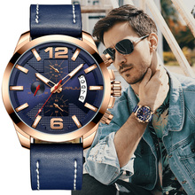 Crrju luxo multi função cronógrafo masculino relógio de pulso moda militar esporte à prova dwaterproof água couro masculino relogio masculino
