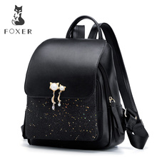 FOXER Brand Women Patchwork Zipper Large Capacity Backpack New Design Female College