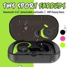 TWS bluetooth 5,0, съемные наушники-крючки, IPX7, водонепроницаемые, спортивные, 360 градусов, HD, тяжелые басы, гарнитура с микрофоном