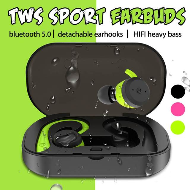 TWS bluetooth 5 0 Detachable Earhooks Earphones Headphone IPX7 Waterproof Sport 360 Degree HD Heavy Bass Earbud Headset with Mic