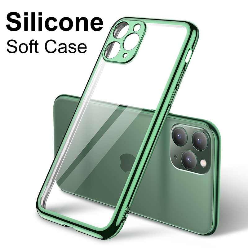 Luxury Silicone Case For Iphone 7 8 6s 6 Plus Se 2020 Transparent Full Cover Soft Case For Iphone 11 Pro Xs Max X Xr Ultra Thin
