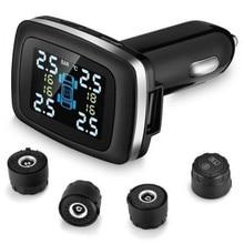 цена на Tire Pressure Monitoring System TPMS Cigarette Lighter Plug LCD Screen USB Charging With 4 External Sensors