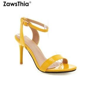 Image 1 - ZawsThia 2020 קיץ פטנט PU צהוב לבן 9cm דק עקבים גבוהים משאבות פיפ בוהן סקסי אישה חתונה נעלי סנדלי גודל גדול 33 50