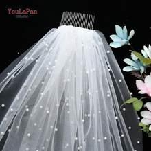 Yulapan v05 mulheres tule véu de noiva pérola véu de casamento com pente de cabelo 1 camada véu de casamento curto catedral véu de casamento