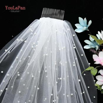 YouLaPan V05 Women Tulle Bridal Veil Pearl Wedding with Hair Comb 1 Tier Short Cathedral