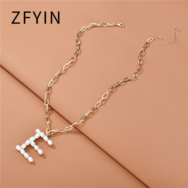 ZFYIN 2020 New Trendy Jewelry Fresh Water Pearl Alphabet Letters Initials  Pendant Necklaces for Women