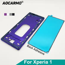 Aocarmo Sony Xperia 1 / J9110 / XZ4 orta çerçeve Metal şasi çerçeve plaka braketi paneli yapışkanlı etiket