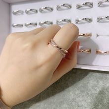 Small pure and fresh temperament rose gold ring fashion double open adjustable ring