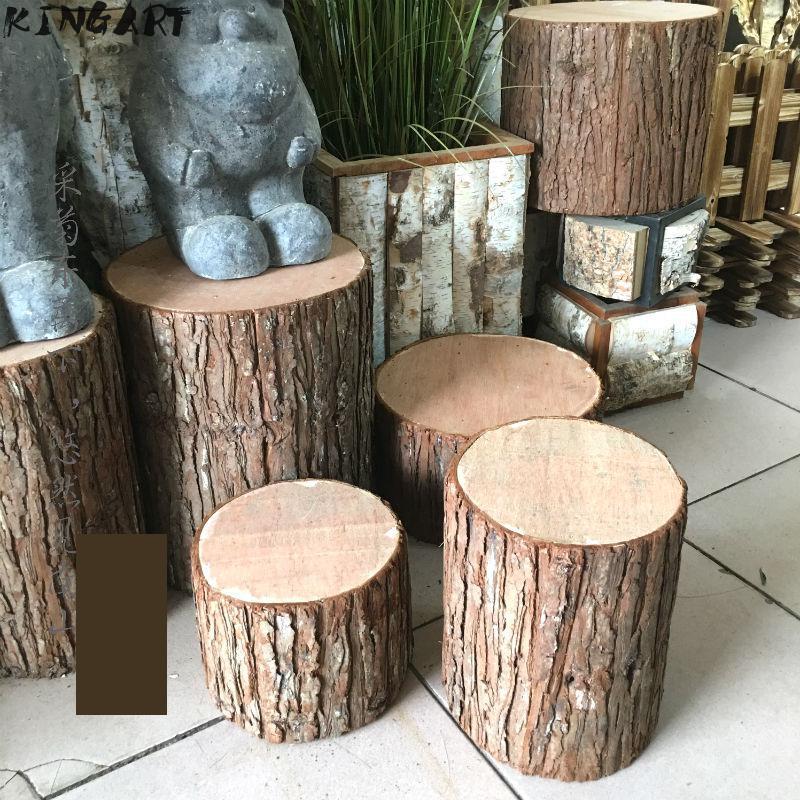 Retro Fir Bark  Tree Stump Stool Hollow Stump Artificial Stump Stool Photographic Props Wedding Decoration Shop Window Decor