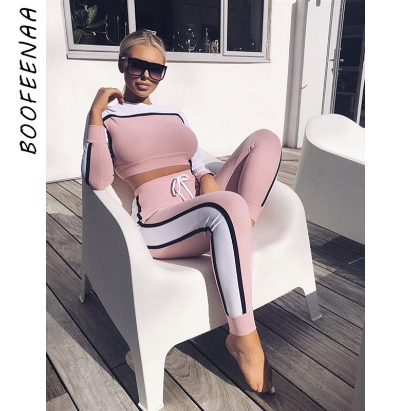 BOOFEENAA 2019 Fall Winter Tracksuit Women Two Piece Set Top And Pants Striped Color Block Sweat Suits Sexy Jogger Set C78-AE71