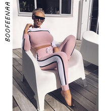 BOOFEENAA 2019 Fall Winter Trainingspak Vrouwen Tweedelige Set Top en Broek Gestreepte Kleur Blok Zweet Suits Sexy Jogger Set c78-AE71(China)