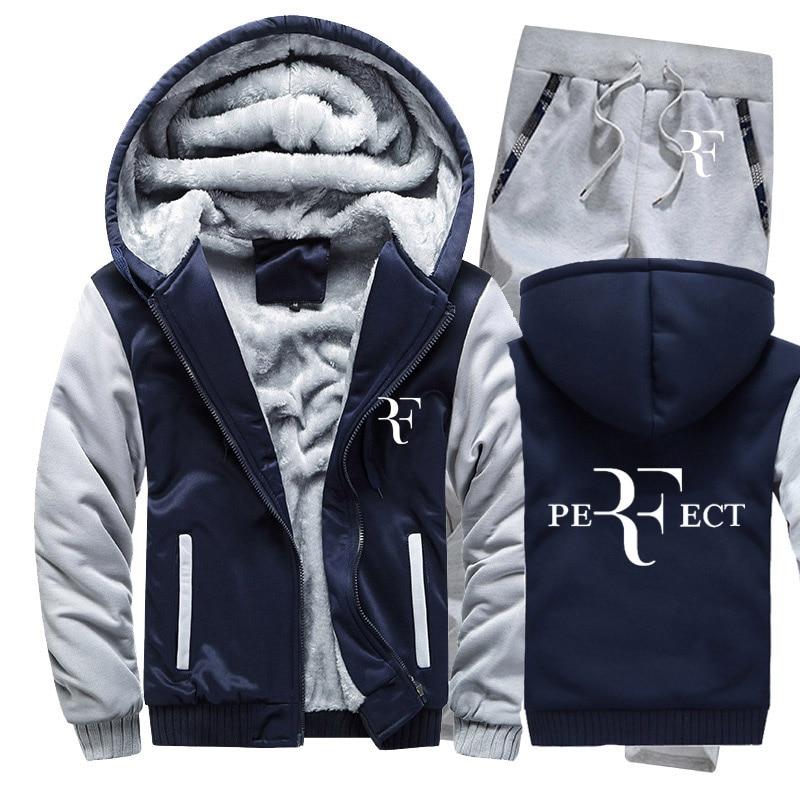 Hoodies Men RF Roger Federer Print Mens Hoodies Suit Winter Thicken Warm Fleece Cotton Zipper Tracksuit Mens Jacket+Pants 2Pcs